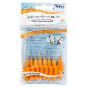 Межзубные ёршики светло оранжевые с короткой ручкой 0,45мм