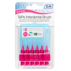 Межзубные ёршики розовые с короткой ручкой 0,4 мм